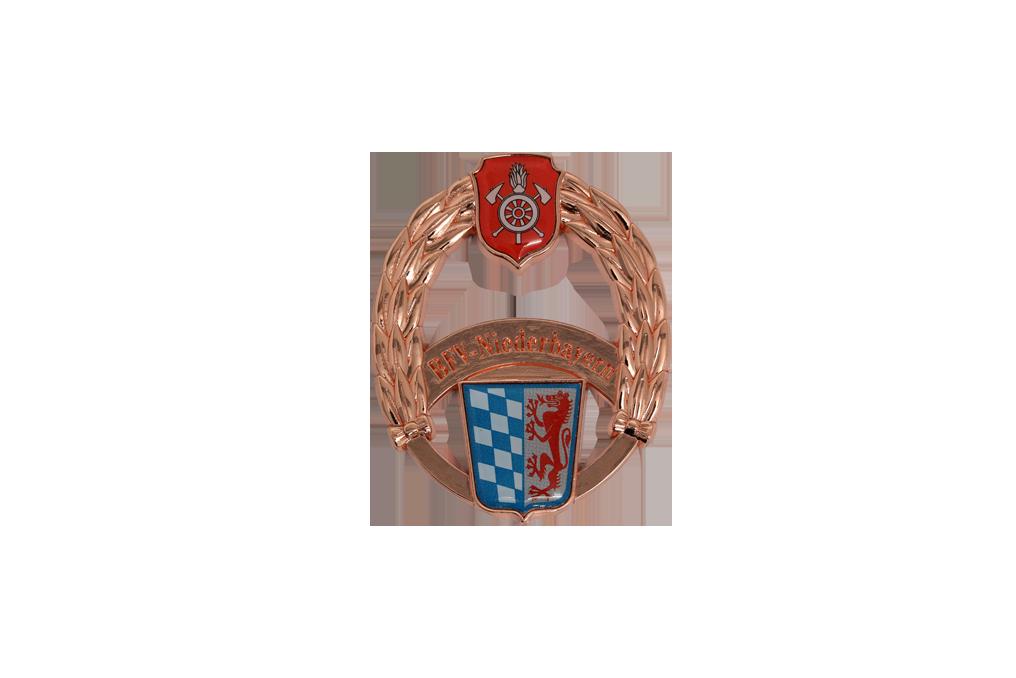 Feuerwehr-Leistungsabzeichen in gegossen, Logo`s im Digitaldruck mit Glasurlack in verkupfert