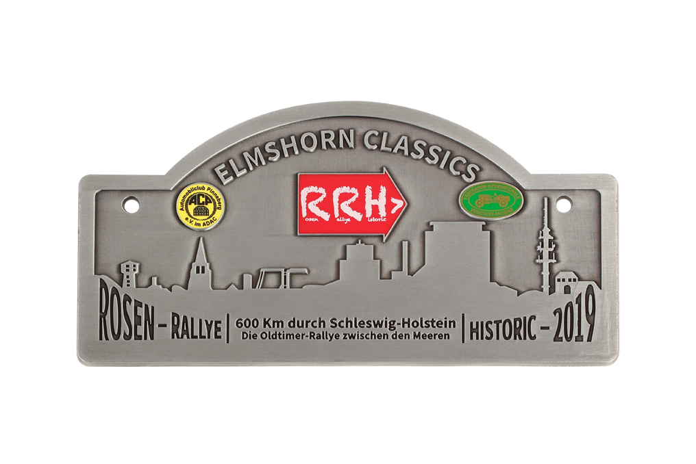 gegossen, Logo`s im Digitaldruck mit Glasurlack, antik Silber, 2 Bohrungen