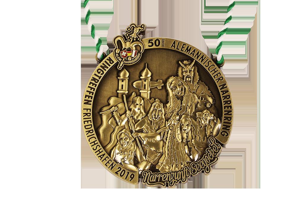3D, antique brass, colored emblem