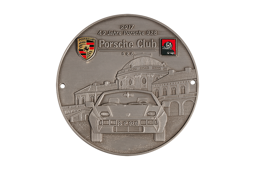 cast zinc, 3D relief, antique finish silver plated, Porsche emblem, metal, gold colored, minted, colored snd glued, club logo, metal black nickel plated, cast, colored, and glued